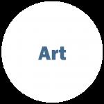 "White circle with blue writing ""Art"""