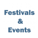 """White circle with blue writing """"Festivals and Events"""""""