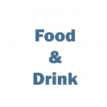 """White circle with blue writing """"Food and Drink"""""""