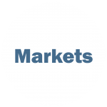 """White circle with blue writing """"Markets"""""""