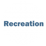 """White circle with blue writing """"Recreation"""""""