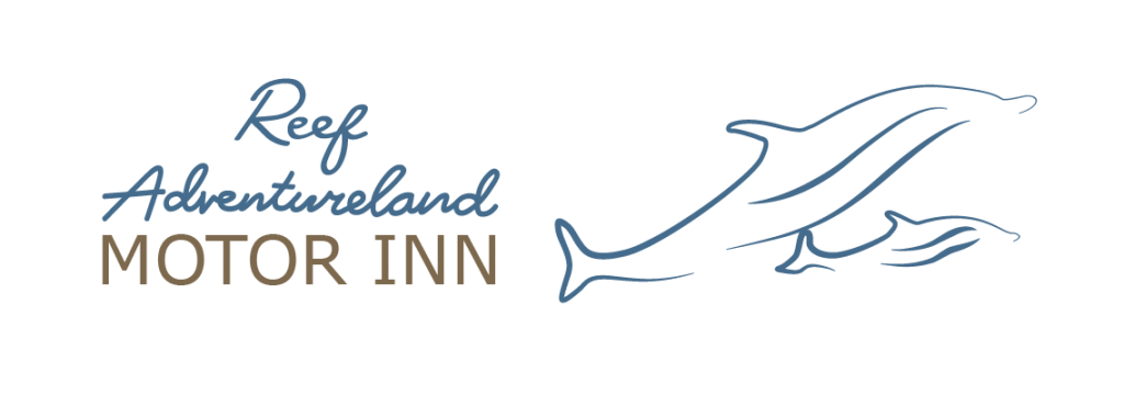 Reef Adventureland Motor Inn logo with blue outlines of two dolphins