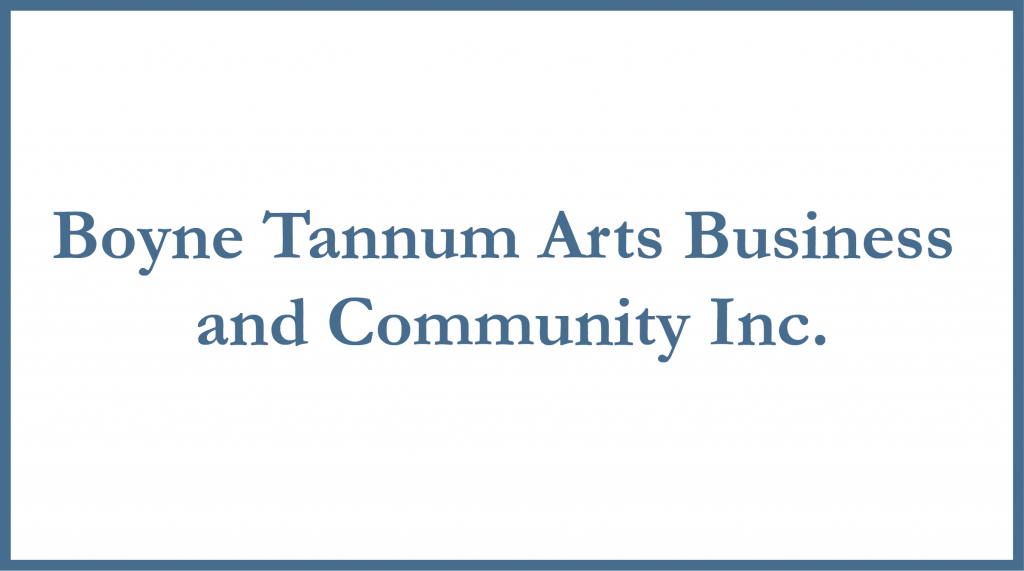 "White rectangle with blue border and the words ""Boyne Tannum Arts Business and Community Inc."""