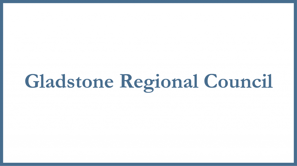 "White rectangle with blue border and the words ""Gladstone Regional Council"""